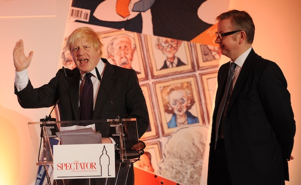 Boris Johnson and Michael Gove at last year's Spectator awards. Picture: PA