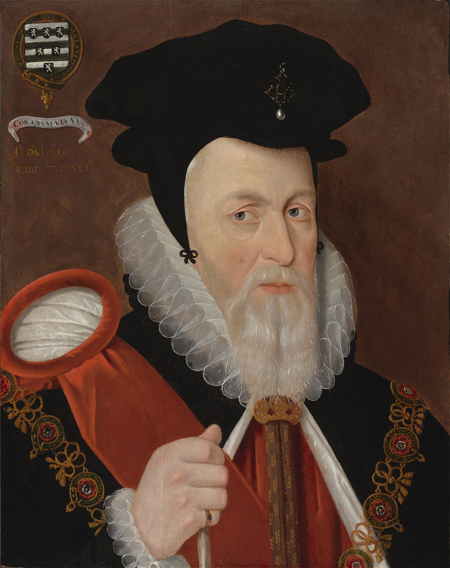 William Cecil: The face of a man with a large file of loopy correspondence.