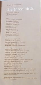 Cast list in my still-treasured programme for The Three Birds